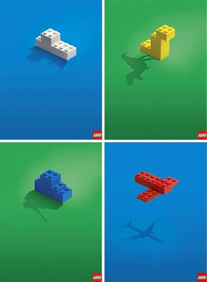 Vier Figuren aus Lego Bausteinen, Schiff, Dinosaurier, Panzer, Flugzeug